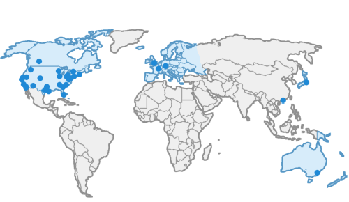 World map showing Business Wire bureaus